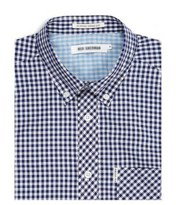 Velcro Aadapted Navy and White Check Long Sleeve Shirt