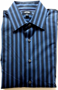 Velcro® Adapted Blues Blacks Stripe No Pocket Long Sleeve Shirt