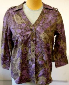 Velcro Adapted Blouse Coconut Shell Purples and Browns 3/4 Sleeve