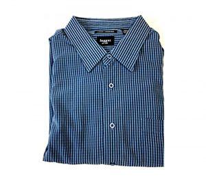 Velcro® Adapted Denim Blue/Black/White Mini Plaid Long Sleeve Shirt