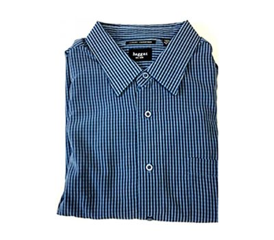 Velcro® Adapted Denim Blue/Black/White Mini Plaid Long Sleeve Shirt