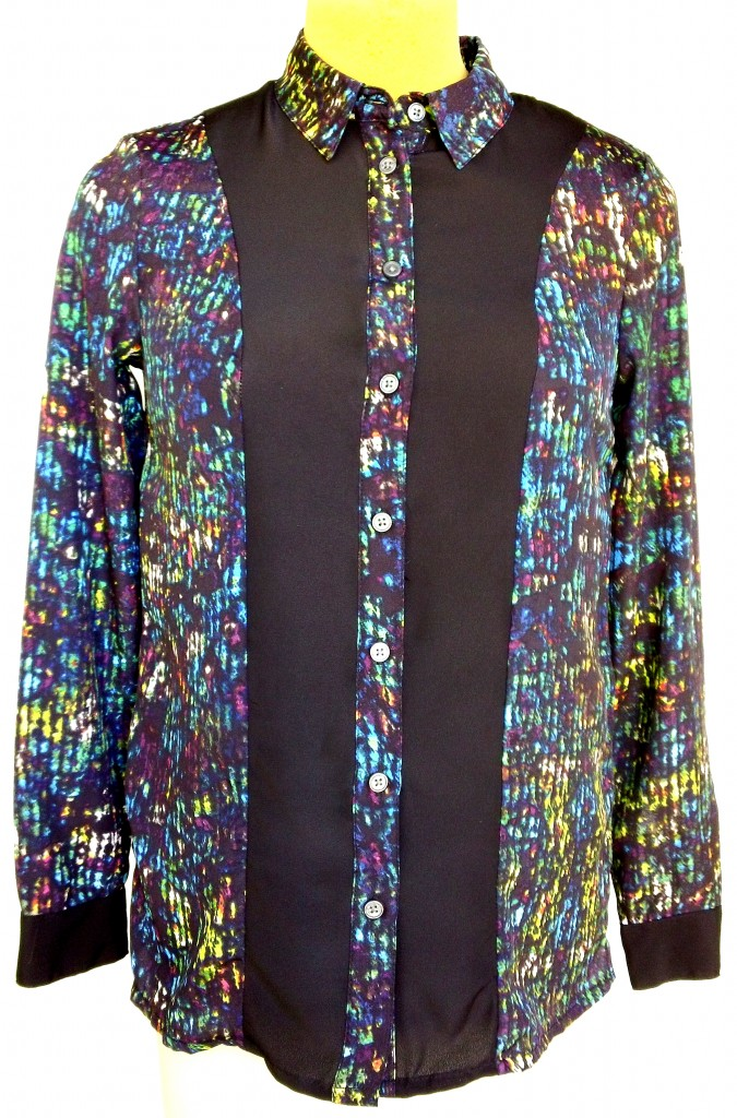 Velcro Adapted Rio Inspired Blouse Nightshades/Black Long Sleeve