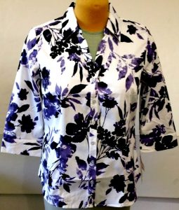Velcro Adapted Purple and Black Flowers on White 3/4 Sleeve