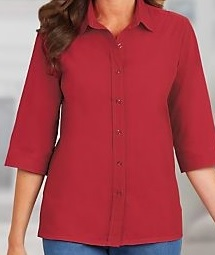 Velcro Adapted Red Blouse 3/4 Sleeve