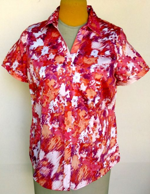 Velcro Adapted Blouse Shades of Orange Pink Purple and White Short Sleeve