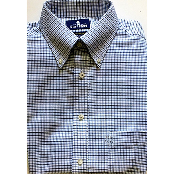 Velcro® Adapted Small Navy Plaid on White Long Sleeve Shirt