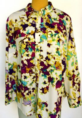 Velcro Adapted Tilda Purple Yellow Turquoise on Ivory Long Sleeve