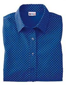 Velcro Adapted Blue Polka Dot Blouse 3/4 Sleeve