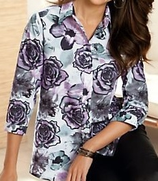 Velcro Adapted Floral Print on White Blouse 3/4 Sleeve