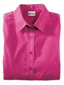 Velcro Adapted Pink Polka Dot Blouse 3/4 Sleeve